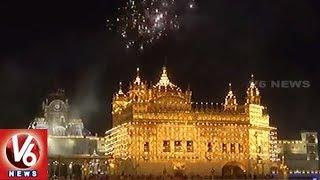 Golden Temple Decorated With Lights & Displays Of Fireworks On Baisakhi Festival | Punjab | V6 News