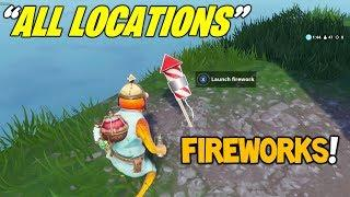 "ALL 3 FIREWORK LOCATIONS! ""Launch Fireworks"" (Fortnite Week 4 Challenges Season 7)"