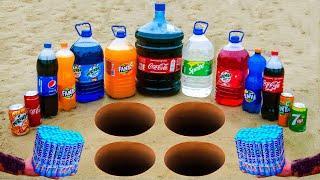 EXPERIMENT : Fanta, Coca Cola, Sprite, Pepsi, Mirinda, Schweppes vs Mentos Underground