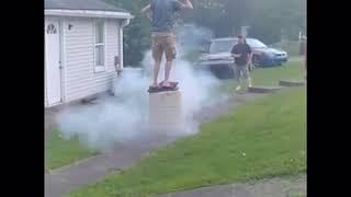 Guy Standing on Barrel Filled With Fireworks Falls When it Explodes - 1054558