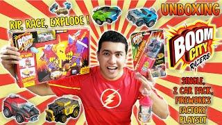 EXPLODE ! Boom City Racers S1 Single, 2 Car Pack & Fireworks Factory Playset - Unboxing & Review