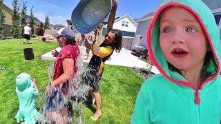 BACKYARD WATER GAME!! Family Water Balloon Battle and Fireworks with Adleys Friend!