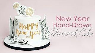 New Years Hand Drawn Landmarks Fireworks cake Tutorial - Sketch Style